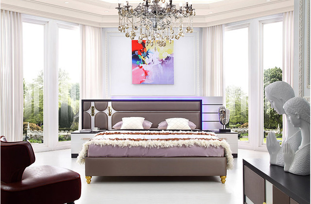 2017 New Design Exotic Bedroom Furniture Maharaja Bed Set WITH LED LIGHT