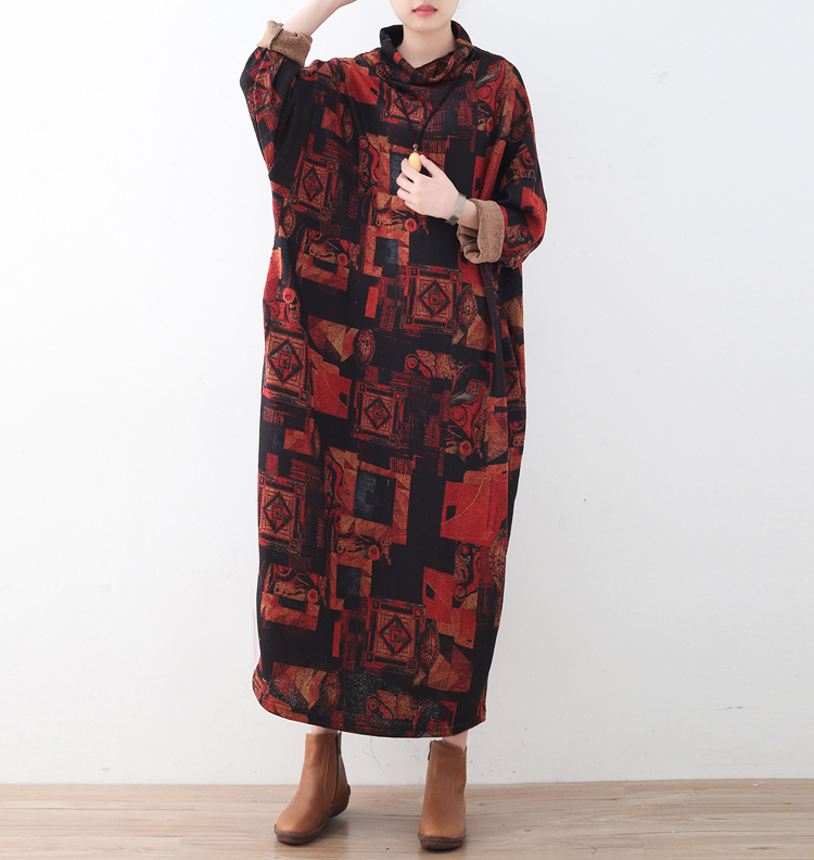 2018 Spring New Knitted Printed Dress Women Casual Cotton Robe Lady Plus Size Warm Turtleneck Causal Loose Maxi Dresses plus size double pockets knitted dress