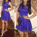 Леди Женщины Sexy Кружева Бинты Клубная Одежда Коктейль Мини Короткие Dress Size 6-14
