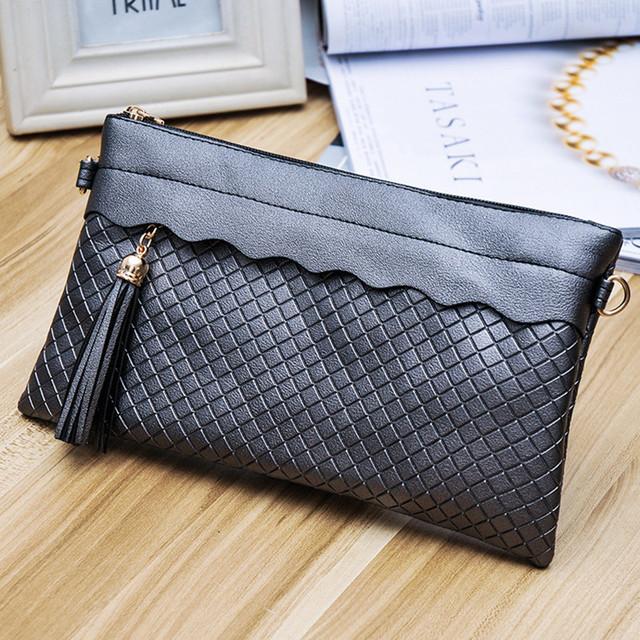 TONGLUN MOBEI 2017 New Fashion Plaid Tassel Women Handbag Envelope Clutch CrossBody Bags Ladies Evening Clutch Purse Hand Bags