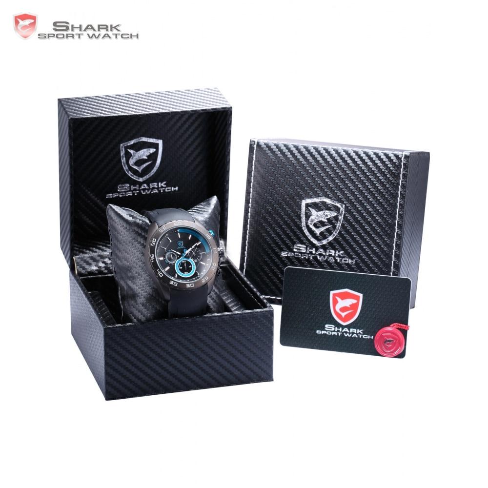Luxury Leather Box Spinner SHARK Sport Watch Men's Relogio Chronograph Silicon Strap Quartz Relogio Masculino Watches /SH256-260 spinner shark sport watch waterproof