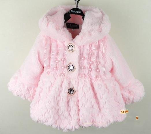 baby girls warm coat hoody kids princess long sleeve winter fleece overcoat jacket with hat white pink yellow free shipping