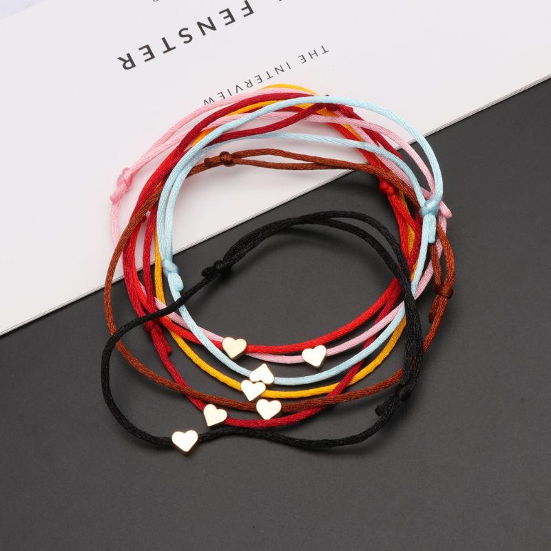 Lucky Kabbalah Heart Charm Weave Red String Love Bracelet Friendship Jewelry