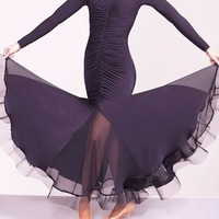 Discount New Latin Dance Dresses For Ladies Black Color Long Sleeve Showing Skirts Wears Women Poly Modern Ballroom Dresses B009