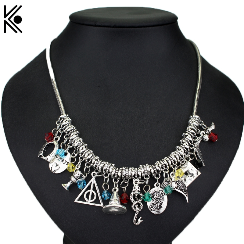 060fcd9d09ae9 DIY Magic Hat Deathly Hallows Snake Logo Crystal Beads Necklaces   Pendants  Alloy Necklace Christmas Gift