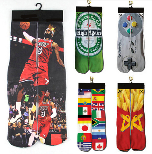 huge selection of 81d7c 54c5b 2018 new 3d socks Jordan beer fire chips emoji weed print men women  harajuku casual brand sock Basket-ball sock dropshipping