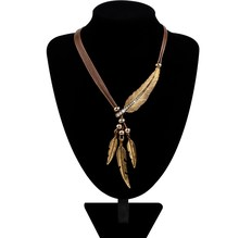 Hot Alloy Feather Necklace