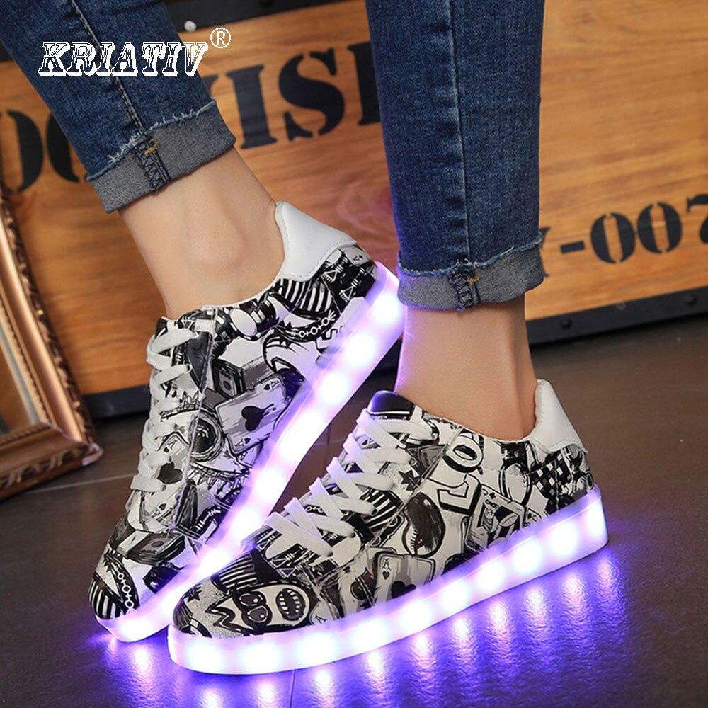 KRIATIV moda camuflaje luminosa zapatillas de deporte para niños zapatos de bebé de carga USB brillante niñas zapatillas de deporte niños luz zapatos