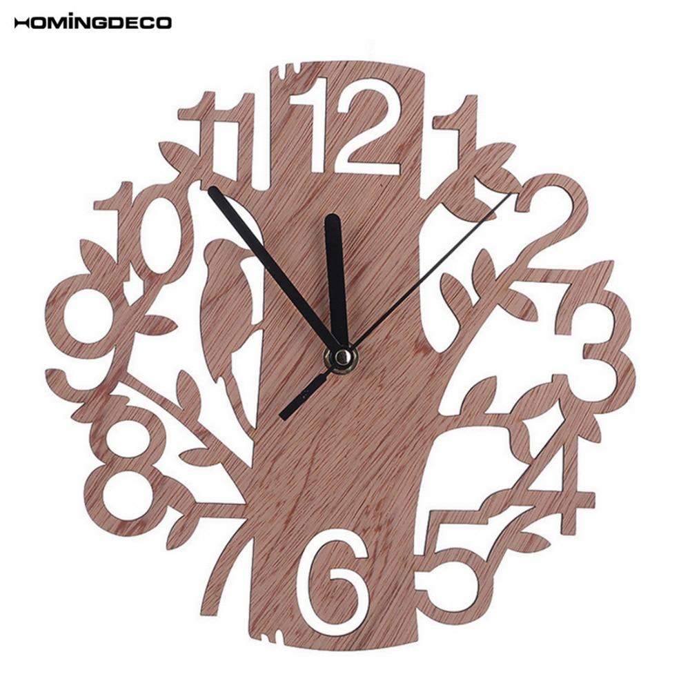 Homingdeco Настенные часы Домашний Декор современная новинка дерево Форма деревянные висячие Часы Простой Спальня часы Настенный декор