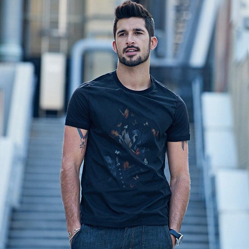 KUEGOU Yeni Yaz Kişi Moda T-Shirts Patchwork İp Çap Qara Marka - Kişi geyimi - Fotoqrafiya 2