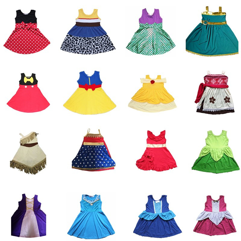 2018 nuevo vestido de la princesa de las muchachas Cosplay Ariel sirena Belle Moana vestido Mickey Minnie Anna Elsa niños Jesse vestidos fiesta