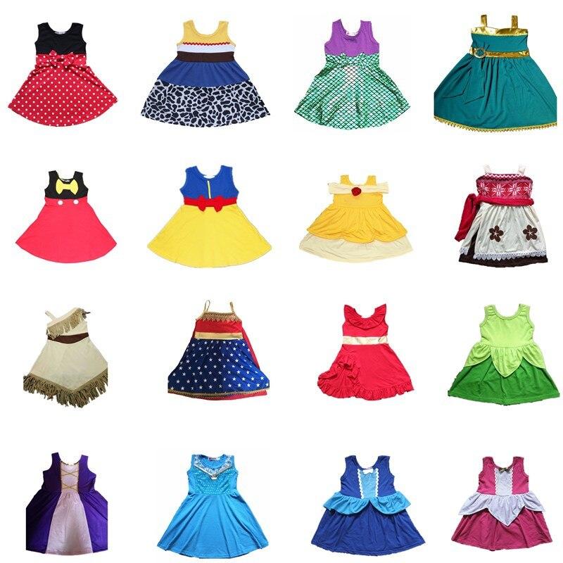 2018 nuevo vestido de princesa para niñas Cosplay Ariel Mermaid Belle Moana vestido Mickey Minnie Anna Elsa niños vestidos de fiesta de vacaciones