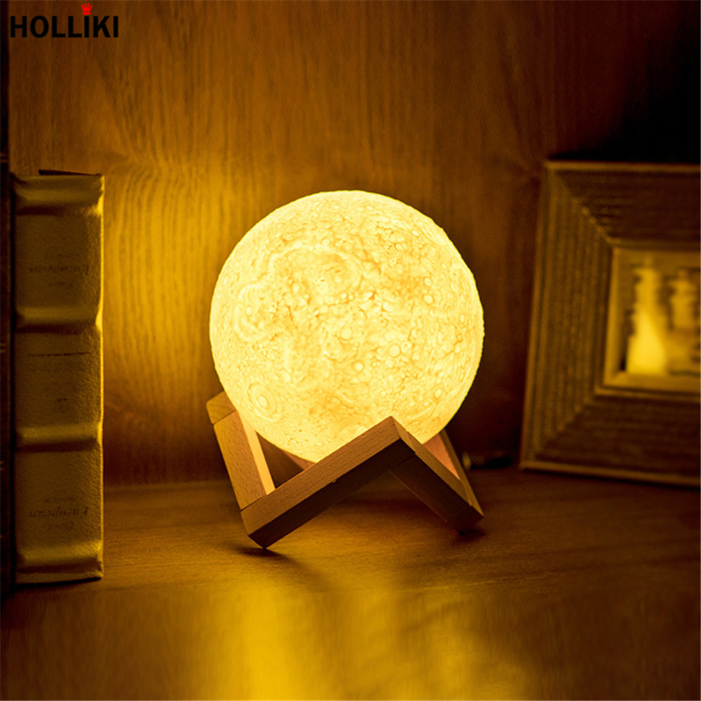 13cm Rechargeable 3D Print LED Moon Table Lamp Light Touch Switch 2 Color Change Novelty Lamps Night Lights for Gift Home Decor