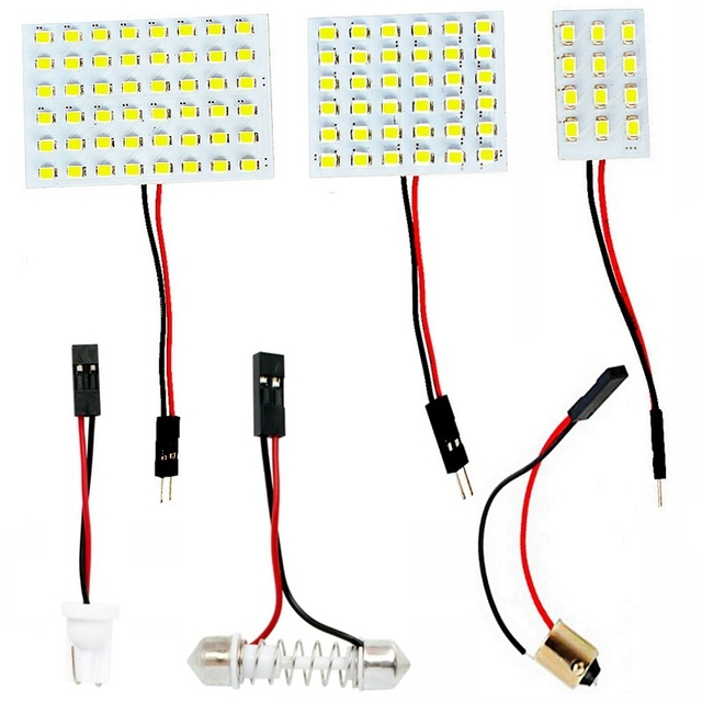 T10 W5W BA9S C5W Festoon(31mm 36mm 39mm 42mm) 3 Adapters 12 36 48 SMD 2835 LED Reading Panel Lights Bulbs Car Interior Dome Lamp