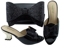 Latest African Matching Shoes and Bags Italian In Women slippers Beautiful patent Leather Women Shoes and Bag Sets Black color