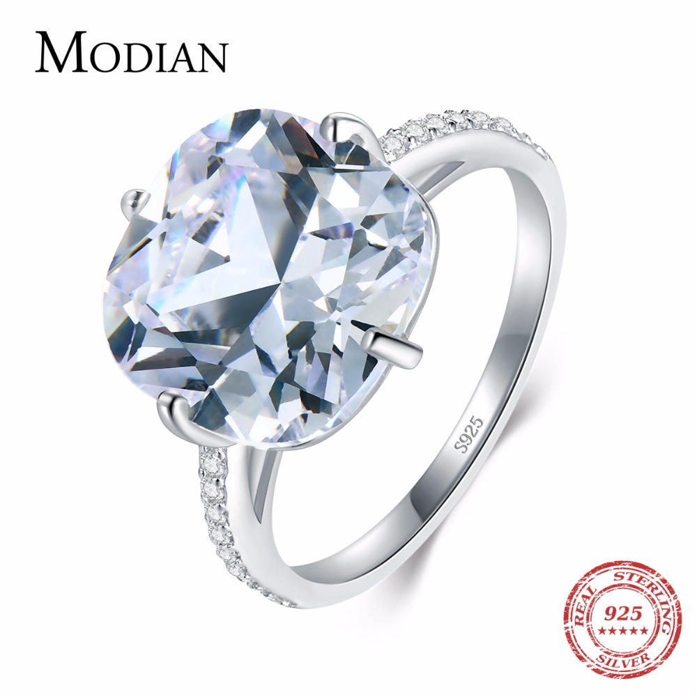 Modian Real 925 Sterling Silver Ring Round Clear Zirconia Dazzling Fashion Silver Ring Wedding Anniversa Jewelry For Women Anel
