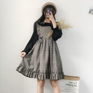 Image 2 - Herbst Frühling Frauen Vintage Kleid Japanischen Stil Ärmelloses Plaid Kleid Harajuku College Studenten Nette Kawaii Lolita Kleid