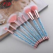 FLD 7 Pcs Unicorn Glitter Makeup Brushes Set Diamond Crystal Handle Powder Foundation Eyebrow Eyeliner Face MakeUp Brush Set