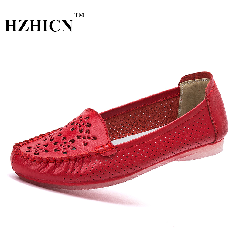Women Leather Shoes Summer New Hollow Shoes Casual Loafers Soft and Comfortable Mother Oxfords 5 Colors Moccasins Zapatos Mujer fashion brand genuine leather shoes for women casual mother loafers soft and comfortable oxfords lace up non slip flat moccasins