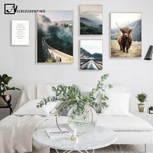 Настенный арт пейзаж холст плакат нордический девять арок мост Туманный лес печать живопись скандинавские украшения картина домашний декор