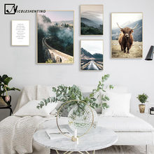 Wall Art Landscape Canvas Poster Nordic Nine Arch Bridge Foggy Forest Print Painting Scandinavian Decoration Picture Home Decor(China)