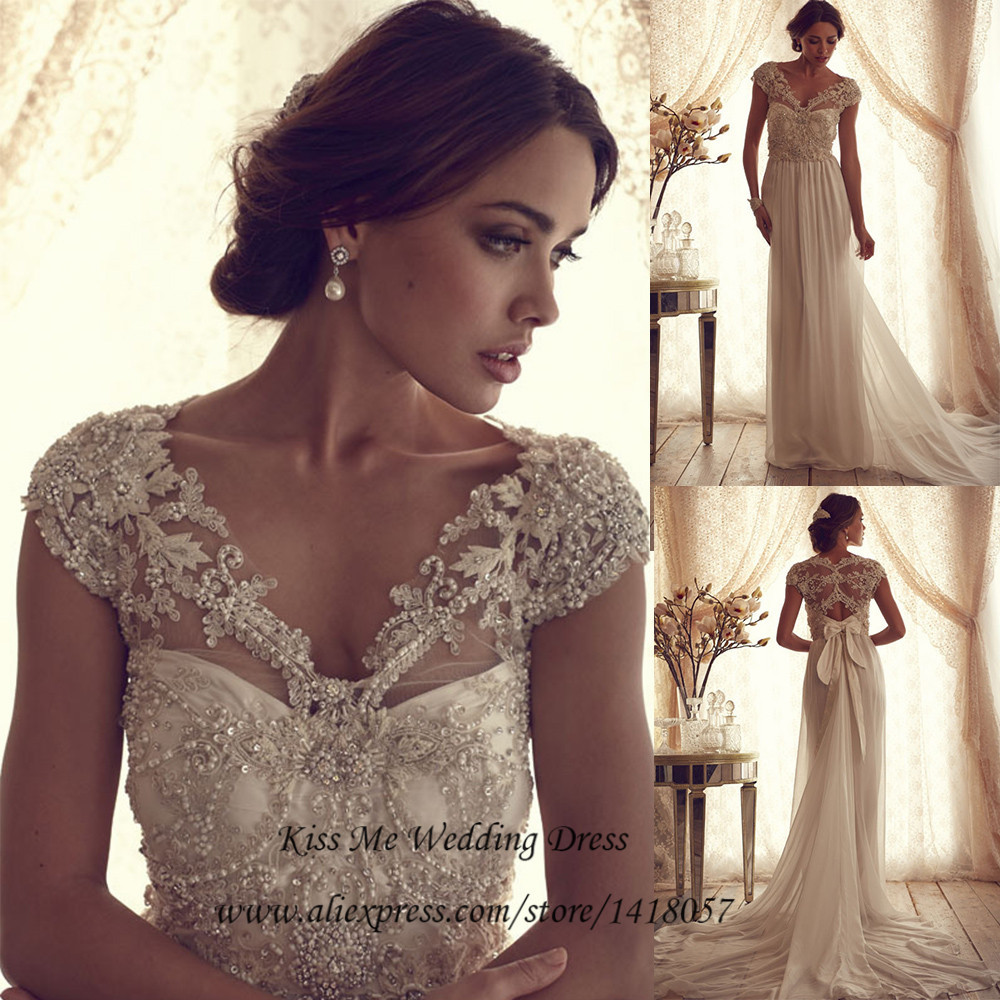Buy vintage lace wedding dress 2015 for Vintage beaded lace wedding dress