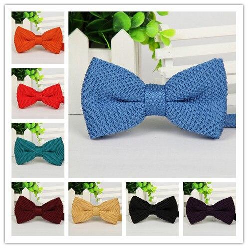 Фирменная новинка, мужской однотонный Вязаный Галстук-бабочка, Модный свадебный смокинг, красный, черный, белый, зеленый, голубой конфетный цвет, галстуки-бабочки