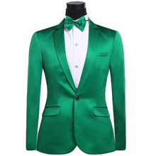 2017 Latest Coat Pant Design Green Satin Men Suit Slim Fit 2 Piece Groom Tuxedo Wedding Suits Custom Prom Blazer Terno Masculino