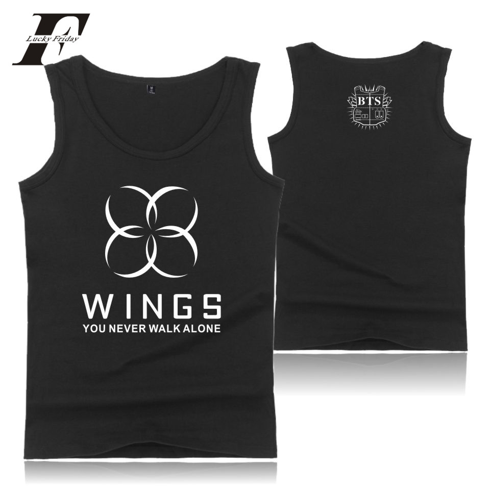 K-pop BTS WINGS   Top   Quality Fitness   Tank     Tops   Bodybuilding new Kpop   tops   Fit Summer Vests Plus Size