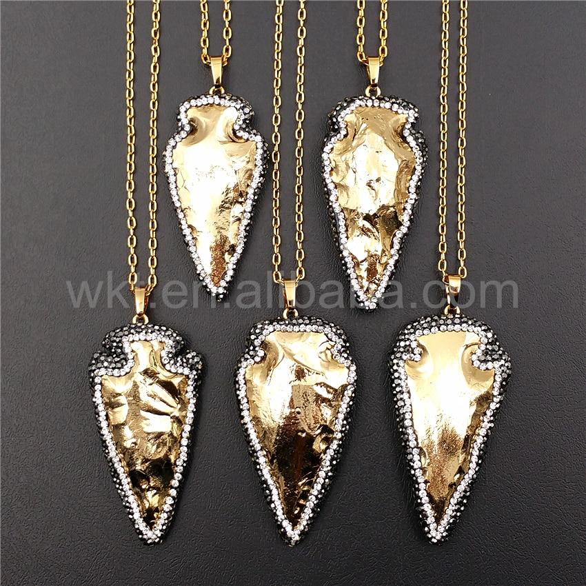 9ef2a14037b1 WT-NV129 al por mayor 5 unids lote rhinestone oro strim Arrowhead collar  joyería