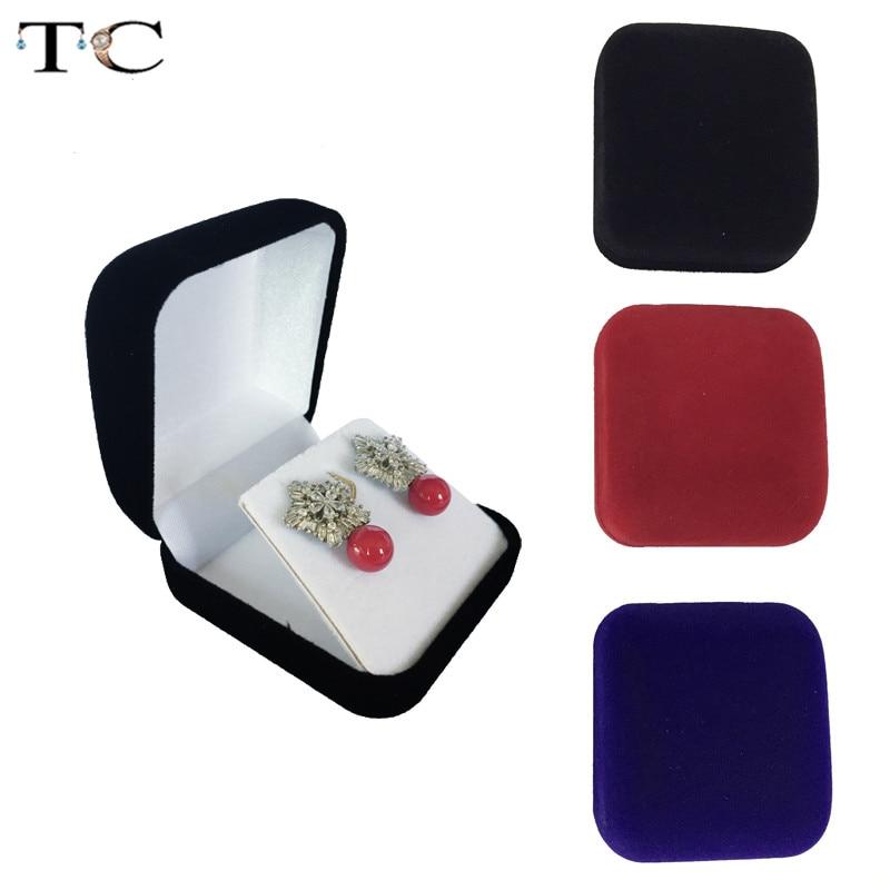 60pcs Wholesale Black Velvet Earrings Box Jewelry Display Storage Foldable Case For Wedding Ring Valentine s