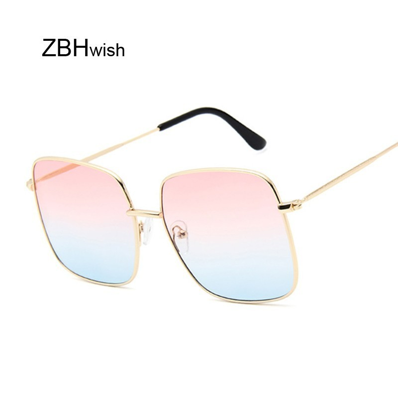 Retro Big Square Sunglasses Women Vintage Brand Shades Progressive Metal Color Sun Glasses For Female Fashion Designer Lunette