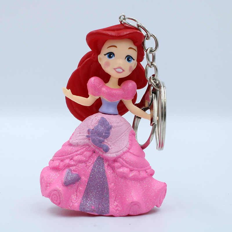 Disney princess boneca dos desenhos animados pingente chaveiro Accesorios saco Congelado Elsa Anna pingente modelo figura presente da menina pingente de Sofia