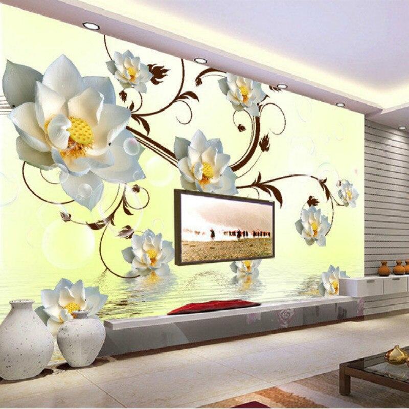 ᐊpiękne żółte Kwiaty Biały Lotos 3d Duży Mural Tapety