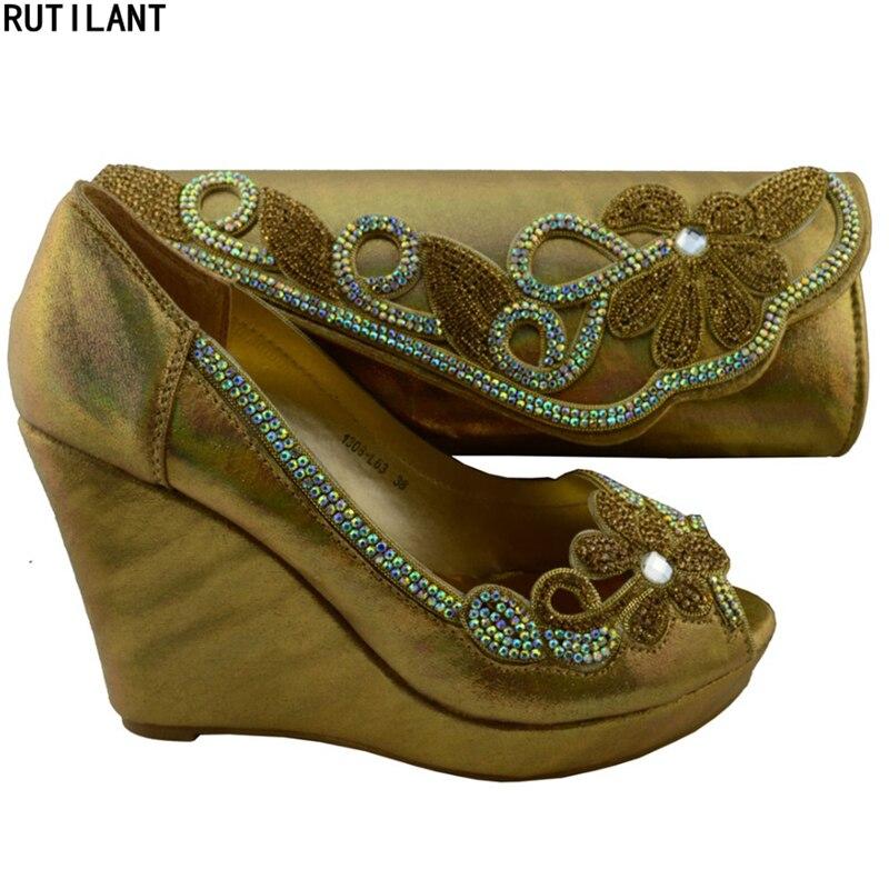 Rhinestone Novia Y Italianos oro rojo plata Bolsos Negro Enviob Nigeriano Mujeres Juego Decorado Conjunto Con Bolsa Sexy Zapatos A qvOFwO5