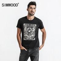 SIMWOOD 2017 Summer New Print T Shirt Men Slim Fit Fashion 100 Cotton Vintage T Shirts