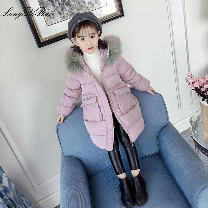 Girls Ocean two-tone real fur collar coat 2018 new winter coat children's long thick Korean version of the girl's coat in the bi apricot chimney collar open front long sleeves coat