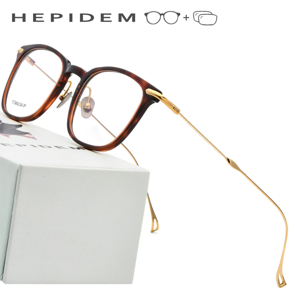 Hepidem Pure Titanium Glasses Men 2018 Vintage Round Ultralight Eyeglasses Frame
