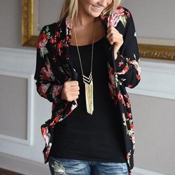 MISSKY Women Rose Floral Long Sleeve Jacket Fashionable Coat Top