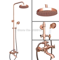 Antique Red Copper Bathroom Round Shower Head Wall Mount Rain Shower Faucet Set with Dual Handles Clawfoot Tub Mixer tap Wrg515