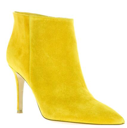 2017 Autumn Winter Women Ankle Boots high heels suede leather booties yellow point toe party shoes new motorcycle bota front lace up casual ankle boots autumn vintage brown new booties flat genuine leather suede shoes round toe fall female fashion