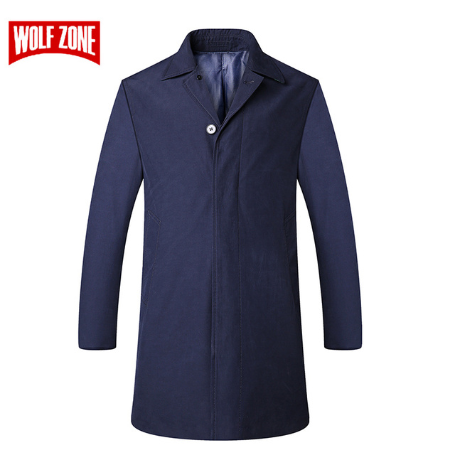 WOLF ZONE Brand Casual Trench Coat Men Spring and Autumn Fashion Business Overcoat Classic Fit Turn-down Long Mens Jacket