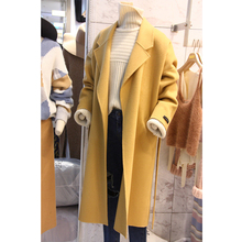 2017 Autumn Simple Style Solid Women's Woolen Coat Turn-down Collar Sashes Female Outwear Loose Tall Fashion Jacket Clothing