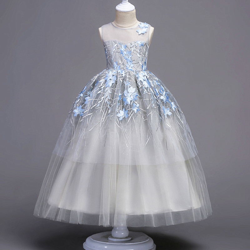2018 winter girl floral lace embroidery tulle dress kid party wedding pageant formal sleeveless prom princess tutu dresses girls 2018 winter girls fancy mini floral party wear clothing for children sleeveless lace princess wedding dress prom dress for teens