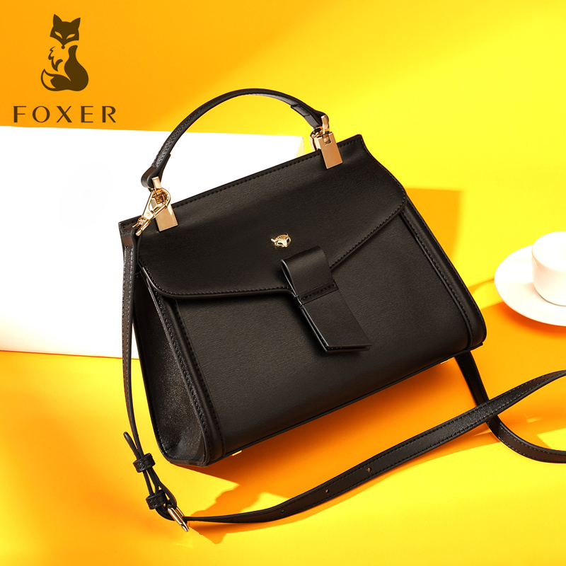 FOXER Brand Women's Split Leather Handbag Female New Fashion Shoulder Bag Ladies Versatile Crossbody Bag Small Flap Bag For Girl foxer women s split leather handbag female new fashion shoulder bag ladies versatile crossbody bag small flap bag for girl