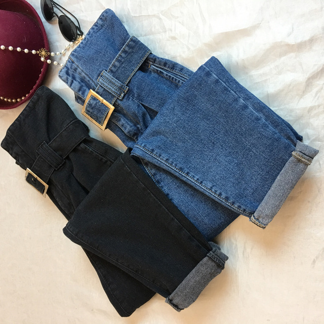 S-5XL Plus Size New Fashion Lady Bud Sashes   Jeans   Women's Solid Thicken Regular Pants High Waist Student Slim Long Trousers