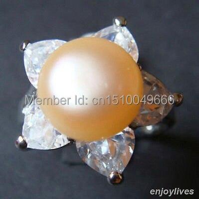 Livraison gratuite>>> véritable bague en forme d'étoile en cristal blanc perle rose véritable taille: 7. 8. 9