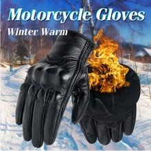Moto rcycle gants Hiver Chaud Thermique En Cuir Véritable Écran Tactile Hommes Cyclisme Gant moto rbike Racing gants moto gants de moto(China)