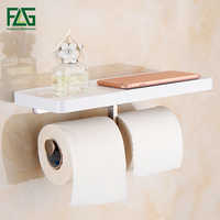FLG Wall Mounted Toilet Paper Holder with White ABS and Stainless Steel Double Rolls Paper Holder Bathroom Accessories G163