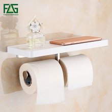 FLG Wall Mounted Toilet Paper Holder with White ABS Shelf & Stainless Steel Double Rolls Bathroom Accessories 1101